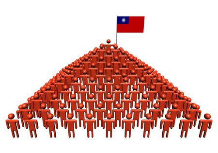 taiwanese: Pyramid of abstract people with Taiwanese flag illustration Stock Photo