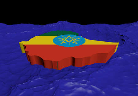 ethiopia abstract: Ethiopia map flag in abstract ocean illustration