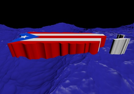 rican: Puerto Rico map flag in abstract ocean illustration Stock Photo