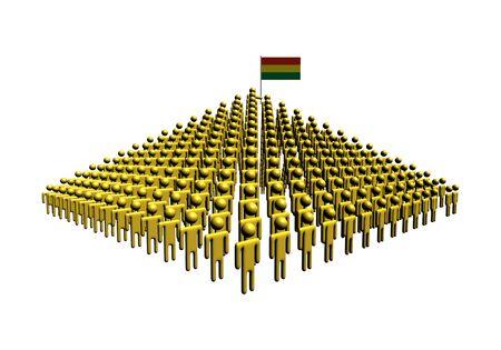 bandera de bolivia: Pir�mide de personas abstractas con Bolivia ilustraci�n de la bandera Foto de archivo