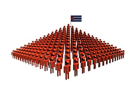 cuban flag: Pyramid of abstract people with Cuban flag illustration