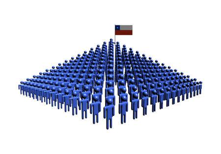 bandera chilena: Pir�mide de la gente abstracta con la ilustraci�n de bandera chilena