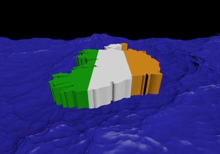 irish map: Ireland map flag in abstract ocean illustration