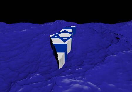 Israel map flag in abstract ocean illustration illustration
