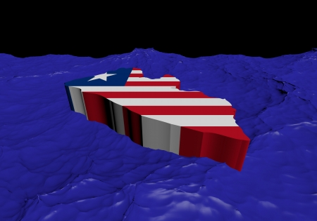 liberia: Liberia map flag in abstract ocean illustration