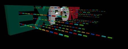 Export text with Mexican flag and containers illustration illustration
