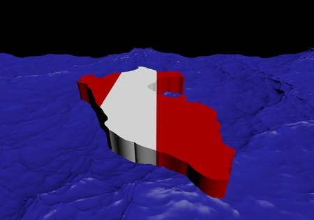 peru map: Peru map flag in abstract ocean illustration