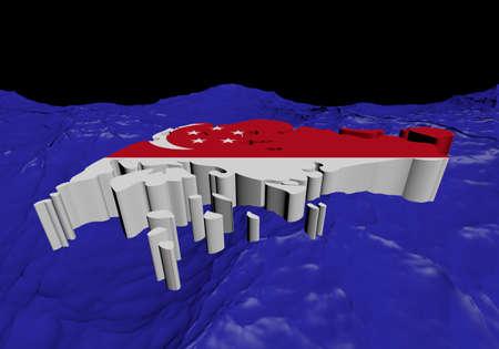encrespado: Correspondencia de Singapur en el resumen de la ilustraci�n del oc�ano Editorial