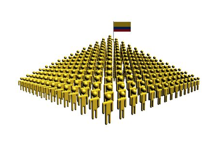 colombian: Pyramid of abstract people with Colombian flag illustration