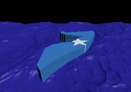 somalian: Somalia map flag in abstract ocean illustration