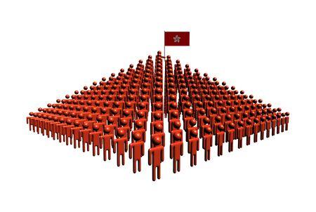 hong kong people: Pyramid of abstract people with Hong Kong flag illustration Stock Photo