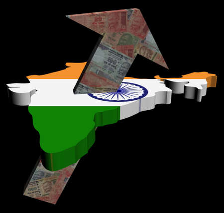 rupees: Rupees arrow and India map flag illustration
