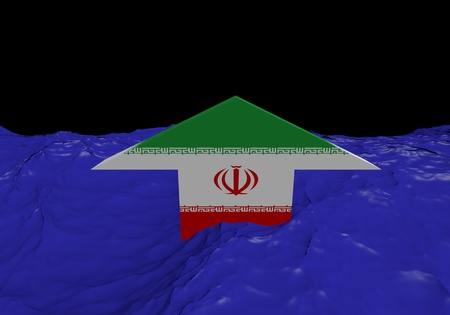 iranian: Iranian flag arrow in abstract ocean illustration