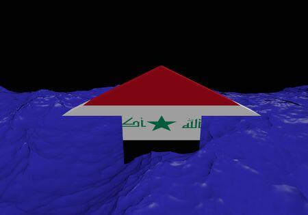 iraqi: Iraqi flag arrow in abstract ocean illustration