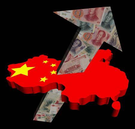 yuan: Chinese yuan arrow on map flag illustration