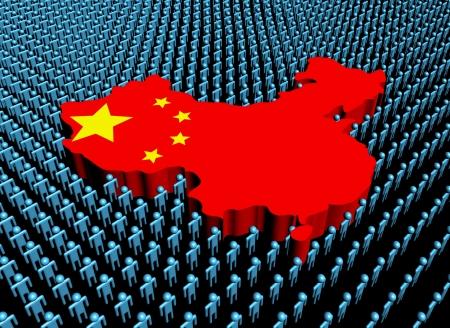 Chinese map: Mapa de la bandera china rodeada de mucha gente ilustraci�n abstracta Foto de archivo