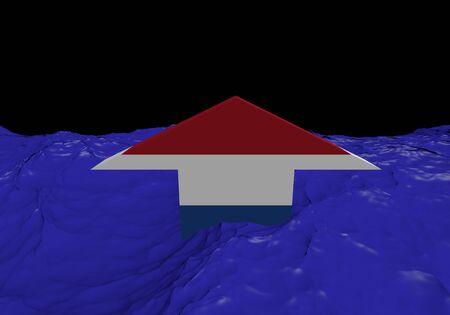 dutch flag: Dutch flag arrow in abstract ocean illustration