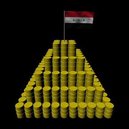 iraqi: Stack of oil barrels with Iraqi flag illustration Stock Photo