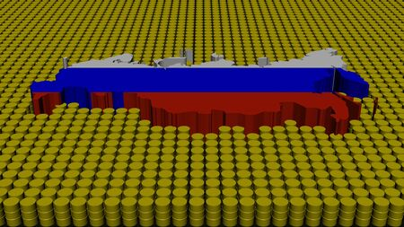 federation: Russian Federation map flag with oil barrels illustration