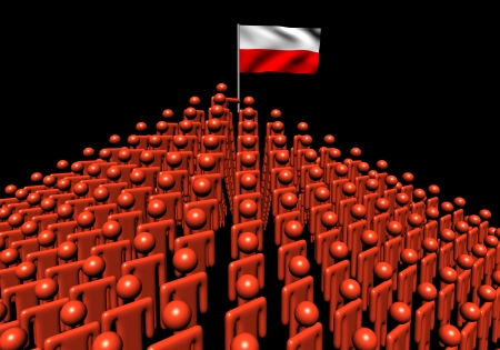 polish flag: Pyramid of abstract people with Polish flag illustration Stock Photo