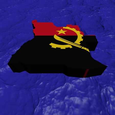 angola: Angola map flag in abstract ocean illustration