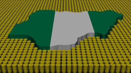 Nigeria map flag with oil barrels illustration illustration