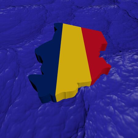 chad: Chad map flag in abstract ocean illustration