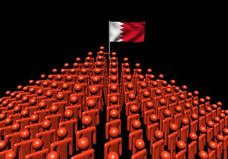 bahrain: Pyramid of abstract people with Bahrain flag illustration