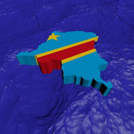 Democratic Republic Congo map flag in abstract ocean illustration illustration