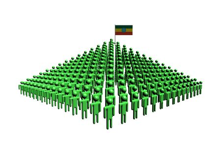 ethiopia abstract: Pyramid of abstract people with Ethiopia flag illustration Stock Photo