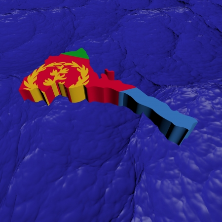 eritrea: Eritrea map flag in abstract ocean illustration Stock Photo