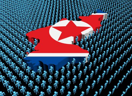 North Korea map flag surrounded by many abstract people illustration illustration