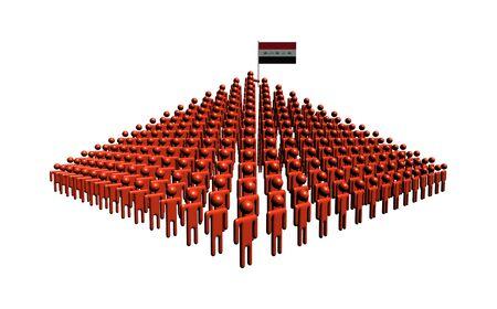 iraqi: Pyramid of abstract people with Iraqi flag illustration