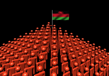 malawi: Pyramid of abstract people with Malawi flag illustration