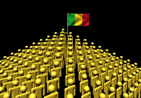 mali: Pyramid of abstract people with Mali flag illustration Stock Photo