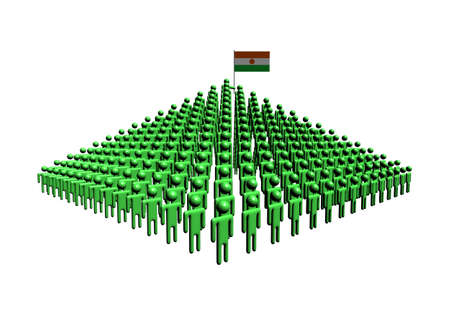 niger: Pyramid of abstract people with Niger flag illustration