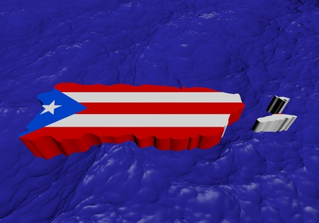puerto rican flag: Puerto Rico map flag in abstract ocean illustration Stock Photo