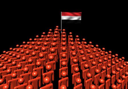 yemen: Pyramid of abstract people with Yemen flag illustration Stock Photo