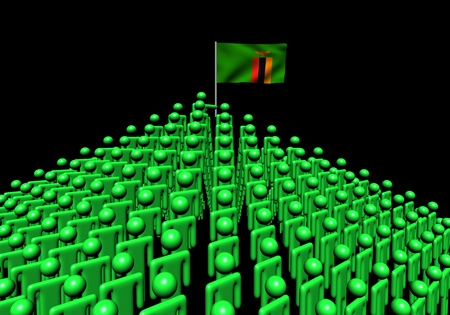 zambian: Pyramid of abstract people with Zambia flag illustration