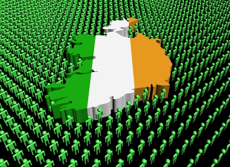 Ireland map flag surrounded by many abstract people illustration illustration