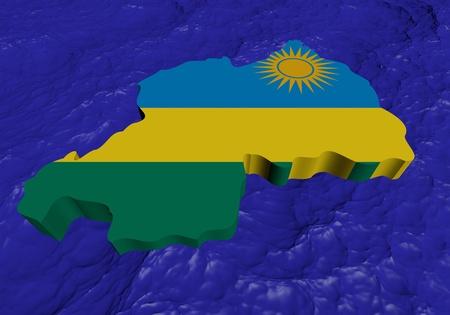 rwanda: Rwanda map flag in abstract ocean illustration Stock Photo