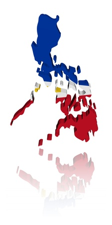 philippines  map: Philippines map flag with reflection illustration