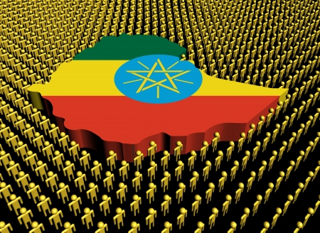 ethiopia abstract: Ethiopia map flag surrounded by many abstract people illustration