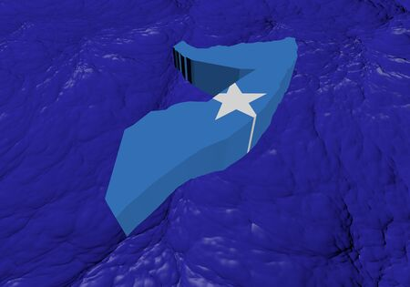 somalia: Somalia map flag in abstract ocean illustration