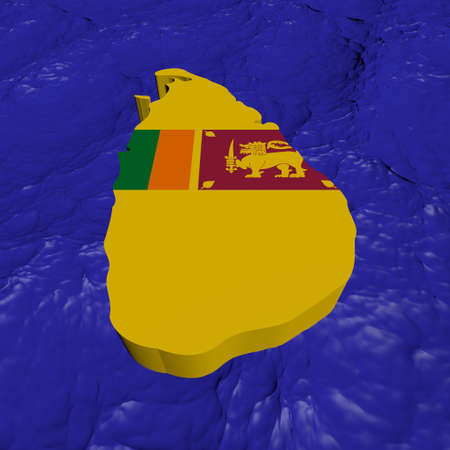 Sri Lanka map flag in abstract ocean illustration illustration