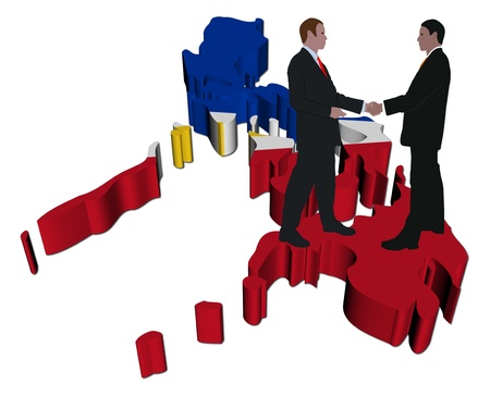 philippines  map: Business people shaking hands on Philippines map flag illustration