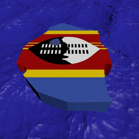 swaziland: Swaziland map flag in abstract ocean illustration Stock Photo