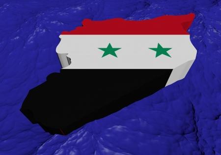 Syria map flag in abstract ocean illustration illustration