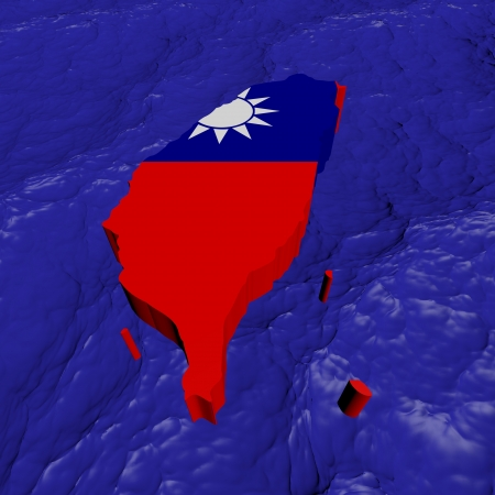 taiwanese: Taiwan map flag in abstract ocean illustration Stock Photo