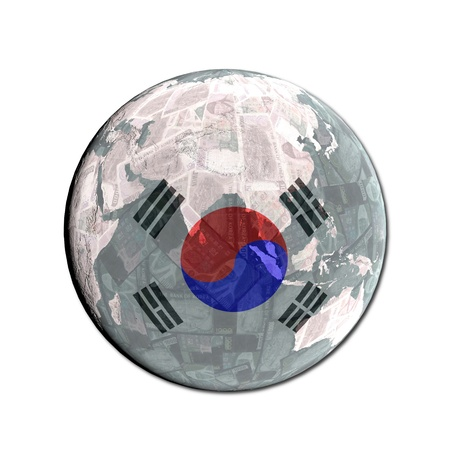 south korean won: South Korean flag globe with currency illustration Stock Photo